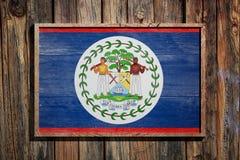 Bandiera di legno di Belize Immagine Stock