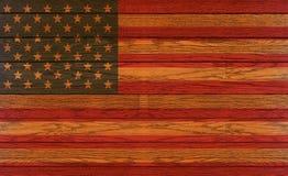 Bandiera di legno degli S.U.A. Fotografia Stock