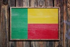 Bandiera di legno del Benin Immagine Stock Libera da Diritti