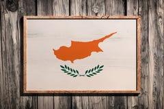 Bandiera di legno del Cipro Fotografie Stock Libere da Diritti