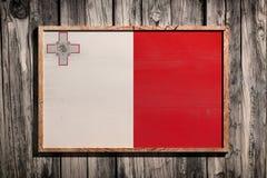Bandiera di legno di Malta Fotografia Stock