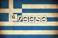 Bandiera di lerciume della Grecia con testo Immagine Stock