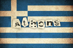 Bandiera di lerciume della Grecia con testo Fotografia Stock