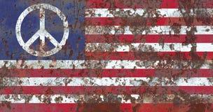 Bandiera di lerciume di simbolo di pace degli Stati Uniti Fotografie Stock Libere da Diritti