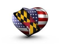 Bandiera di Maryland dello stato di U.S.A. su fondo bianco illustrazione di stock