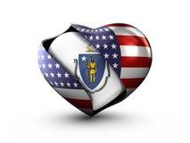 Bandiera di Massachusetts dello stato di U.S.A. su fondo bianco Fotografia Stock Libera da Diritti