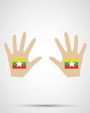 Bandiera di myanmar di progettazione della mano Immagine Stock