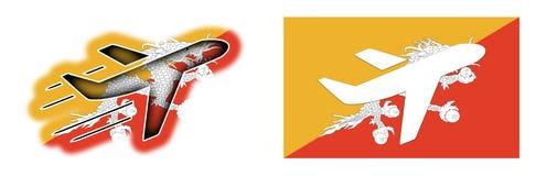 Bandiera di nazione - aeroplano isolato - il Bhutan Immagine Stock