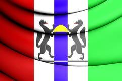 Bandiera di Novosibirsk Oblast, Russia Fotografie Stock Libere da Diritti