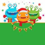 Bandiera di nuovo anno felice Mostri svegli in sciarpa di inverno con i numeri Illustrazione di saluto illustrazione vettoriale