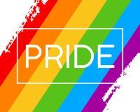 Bandiera di orgoglio di tiraggio LGBT della mano nel formato illustrazione di stock