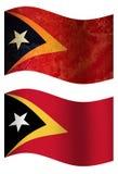 Bandiera di paese della Tunisia 3D, bandiera di paese tridimensionale di Timor di due styleseast, due stili illustrazione vettoriale
