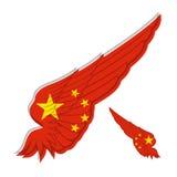 Bandiera di People& x27; s Repubblica Cinese sull'ala astratta e sulle sedere bianche Immagini Stock