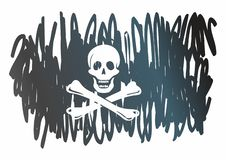 Bandiera di pirata con il cranio e le tibie incrociate ?Jolly Roger ?tradizionale di pirateria Modello per la progettazione dei m illustrazione vettoriale