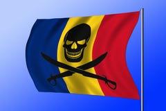 Bandiera di pirata d'ondeggiamento combinata con la bandiera rumena Fotografie Stock Libere da Diritti