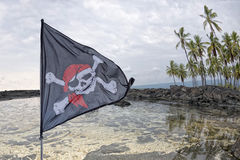 Bandiera di pirata d'ondeggiamento Roger allegro sul fondo tropicale dell'isola Immagini Stock Libere da Diritti