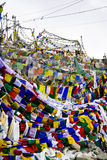 Bandiera di preghiera sul passaggio della La di Khardung Immagine Stock