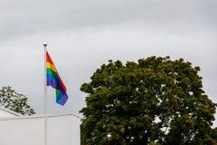 Bandiera di Pride Movement del gay sul tetto della casa a Upsala, Swe Fotografia Stock Libera da Diritti