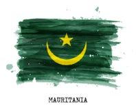 Bandiera di progettazione della pittura dell'acquerello della Mauritania Vettore Immagine Stock Libera da Diritti