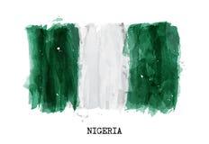 Bandiera di progettazione della pittura dell'acquerello della Nigeria Vettore Fotografia Stock