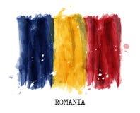 Bandiera di progettazione della pittura dell'acquerello della Romania Vettore Fotografie Stock