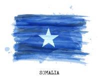 Bandiera di progettazione della pittura dell'acquerello della Somalia Vettore Fotografia Stock Libera da Diritti