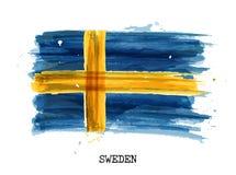 Bandiera di progettazione della pittura dell'acquerello della Svezia Vettore Immagini Stock Libere da Diritti