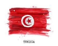 Bandiera di progettazione della pittura dell'acquerello della Tunisia Vettore Fotografia Stock
