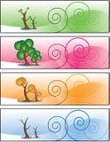 Bandiera di quattro stagioni degli alberi Immagine Stock