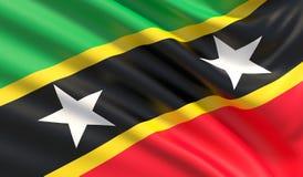 Bandiera di Saint Kitts e Nevis Struttura altamente dettagliata ondeggiata del tessuto illustrazione 3D illustrazione vettoriale