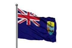 Bandiera di Sant'Elena che ondeggia nel vento, fondo bianco isolato Bandiera di ascensione immagine stock libera da diritti