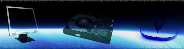 Bandiera di tecnologia del calcolatore illustrazione di stock