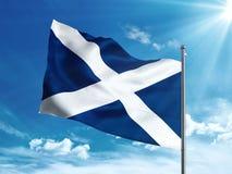 Bandiera di Tenerife che ondeggia nel cielo blu Immagine Stock Libera da Diritti
