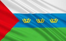 Bandiera di Tjumen'Oblast, Federazione Russa illustrazione vettoriale