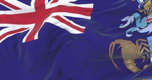 Bandiera di Tristan da Cunha che ondeggia al vento in lento con cielo blu, ciclo royalty illustrazione gratis