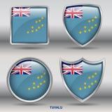 Bandiera di Tuvalu in una raccolta di 4 forme con il percorso di ritaglio Fotografia Stock Libera da Diritti