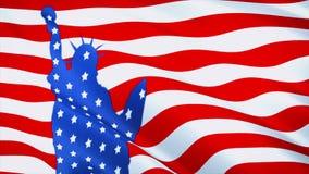 Bandiera di U.S.A. con la statua della libertà illustrazione di stock
