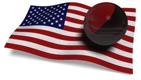 Bandiera di U.S.A. con una bandiera di Antifa in una palla Fotografie Stock