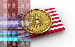 bandiera di U.S.A. del bitcoin 3d Fotografia Stock Libera da Diritti