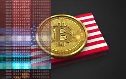 bandiera di U.S.A. del bitcoin 3d Immagini Stock