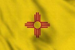 Bandiera di U.S.A. del New Mexico che ondeggia delicatamente nel vento illustrazione vettoriale