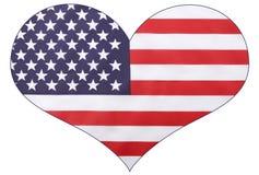 Bandiera di U.S.A. di forma del cuore Fotografie Stock Libere da Diritti