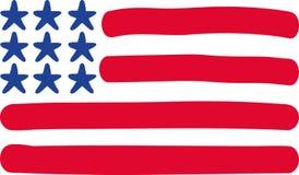 Bandiera di U.S.A. disegnata a mano illustrazione di stock