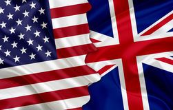 Bandiera di U.S.A. e bandiera del Regno Unito immagine stock libera da diritti