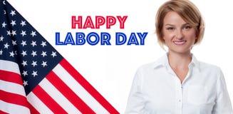 Bandiera di U.S.A. e donna di affari su fondo bianco Festa del Lavoro felice fotografia stock libera da diritti