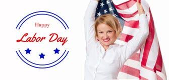 Bandiera di U.S.A. e donna di affari su fondo bianco Festa del Lavoro felice immagini stock