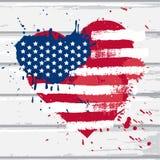 Bandiera di U.S.A. nella forma del cuore Fotografia Stock