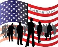 Bandiera di U.S.A. per la festa del lavoro con la gente di affari Immagini Stock