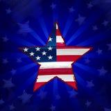 Bandiera di U.S.A. in stella del disegno sopra i raggi blu Fotografie Stock