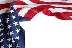 Bandiera di U.S.A. su bianco Immagini Stock Libere da Diritti